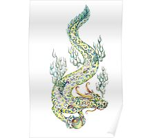Water dragon retaining in the paws of a pearl (color) Poster