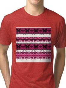 Bright abstract seamless lace pattern romantic print background Tri-blend T-Shirt