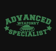 Advanced Weaponry Specialist with green army tank Kids Tee
