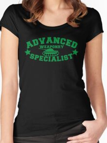 Advanced Weaponry Specialist with green army tank Women's Fitted Scoop T-Shirt