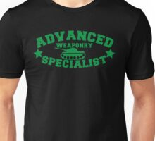 Advanced Weaponry Specialist with green army tank Unisex T-Shirt