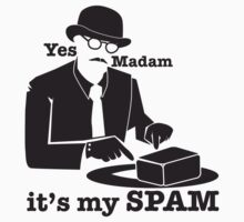 Yes Madam IT'S MY SPAM man in a moustache top hat and suit Kids Tee