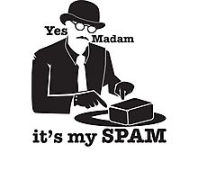 Yes Madam IT'S MY SPAM man in a moustache top hat and suit Photographic Print