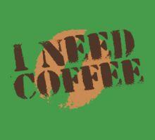 I NEED COFFEE with coffee bean hipster Kids Tee