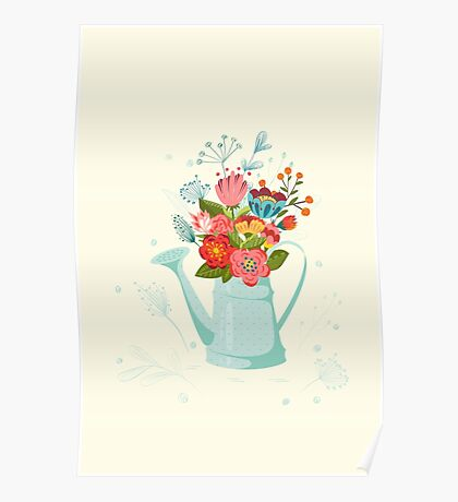 Flowers in  watering-pot. Poster