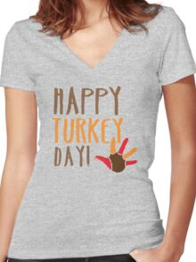 HAPPY TURKEY DAY with turkey hand Women's Fitted V-Neck T-Shirt