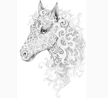 Beautiful horse head with a mane with floral ornaments Unisex T-Shirt