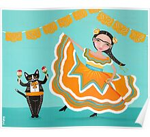 Dancing Frida and Kitty Poster