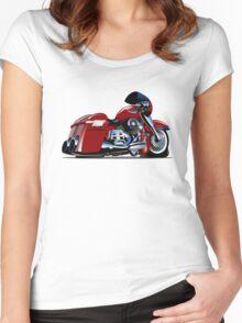 Cartoon Motorbike Women's Fitted Scoop T-Shirt