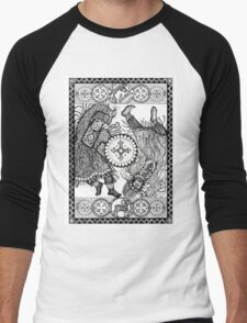 Dancing with a tambourine shaman, in a beautiful frame with a hare, fox and sheep Men's Baseball ¾ T-Shirt