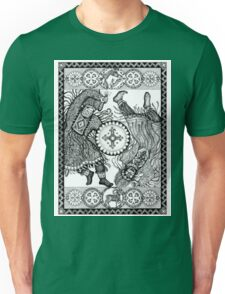Dancing with a tambourine shaman, in a beautiful frame with a hare, fox and sheep Unisex T-Shirt