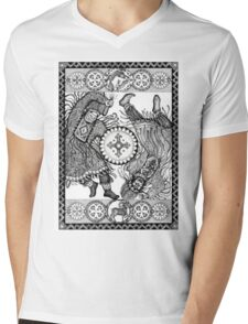 Dancing with a tambourine shaman, in a beautiful frame with a hare, fox and sheep Mens V-Neck T-Shirt