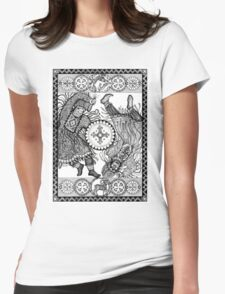 Dancing with a tambourine shaman, in a beautiful frame with a hare, fox and sheep Womens Fitted T-Shirt