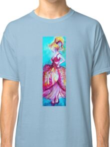 YOUNG GIRL WITH PINK DRESS IN TURQUOISE BLUE Classic T-Shirt