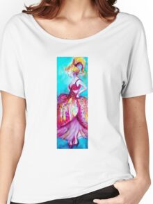 YOUNG GIRL WITH PINK DRESS IN TURQUOISE BLUE Women's Relaxed Fit T-Shirt