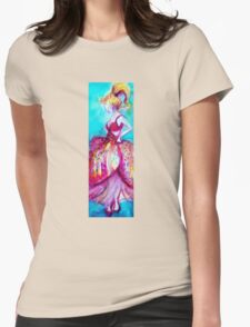 YOUNG GIRL WITH PINK DRESS IN TURQUOISE BLUE Womens Fitted T-Shirt