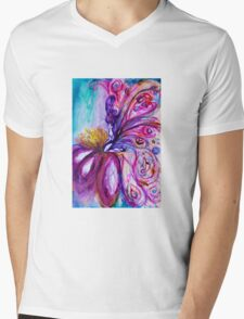 WHIMSICAL CUTE FAIRY IN PINK AND GOLD SPARKLES Mens V-Neck T-Shirt