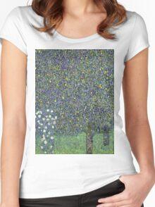 Gustav Klimt - Roses Under The Trees-   Gustav Klimt - Landscape Women's Fitted Scoop T-Shirt