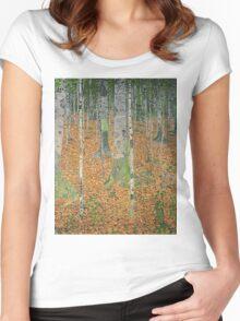Gustav Klimt - The Birch Wood -  Klimt -Birch Trees  Women's Fitted Scoop T-Shirt