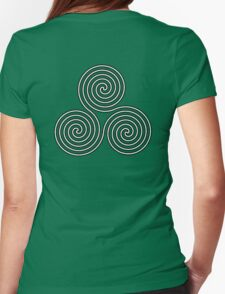 Neolithic, triple, spiral, symbol, Neo, Pagan, Triple Goddess symbol, WHITE Womens Fitted T-Shirt