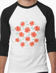 Cheerful Red Flowers Pattern Men's Baseball ¾ T-Shirt