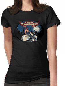 Cartoon motorbiker at night city background Womens Fitted T-Shirt