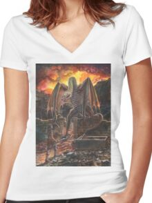 Saurian Sanctuary Women's Fitted V-Neck T-Shirt