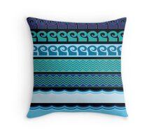 Blue Waves Pattern Throw Pillow