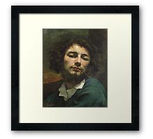 Vintage famous art - Gustave Courbet - Self Portrait Or, The Man With A Pipe Framed Print