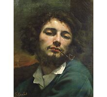 Vintage famous art - Gustave Courbet - Self Portrait Or, The Man With A Pipe Photographic Print