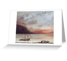 Vintage famous art - Gustave Courbet - Sunset Over Lake Leman Greeting Card