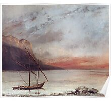 Vintage famous art - Gustave Courbet - Sunset Over Lake Leman Poster