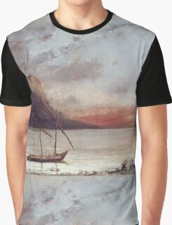 Vintage famous art - Gustave Courbet - Sunset Over Lake Leman Graphic T-Shirt