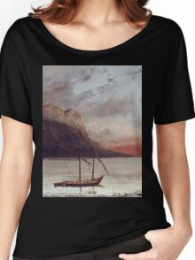 Vintage famous art - Gustave Courbet - Sunset Over Lake Leman Women's Relaxed Fit T-Shirt
