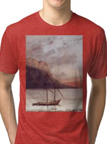 Vintage famous art - Gustave Courbet - Sunset Over Lake Leman Tri-blend T-Shirt