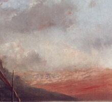 Vintage famous art - Gustave Courbet - Sunset Over Lake Leman Sticker