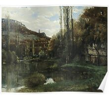 Vintage famous art - Gustave Courbet - The Mirror On The River Loue At Scey-En-Varais, Near Ornans Poster