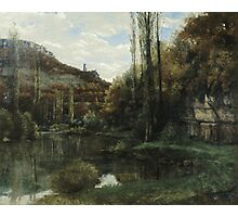 Vintage famous art - Gustave Courbet - The Mirror On The River Loue At Scey-En-Varais, Near Ornans Photographic Print