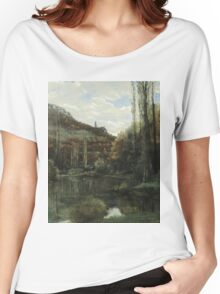 Vintage famous art - Gustave Courbet - The Mirror On The River Loue At Scey-En-Varais, Near Ornans Women's Relaxed Fit T-Shirt