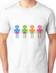 Colourful Cartoon Robots Unisex T-Shirt