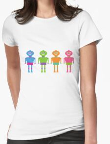 Colourful Cartoon Robots Womens Fitted T-Shirt