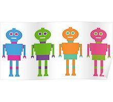 Colourful Cartoon Robots Poster