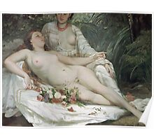 Vintage famous art - Gustave Courbet - Bathers Or Two Nude Women Poster