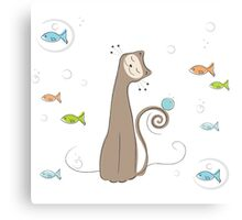 Whimsical Cat and Fish Canvas Print
