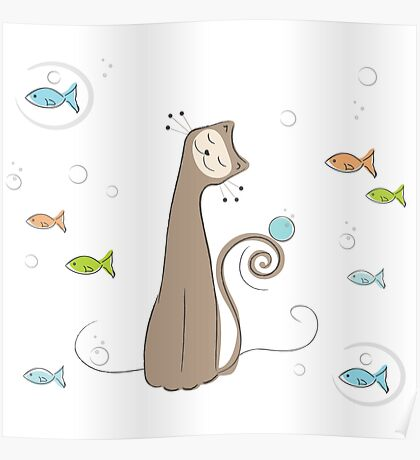 Whimsical Cat and Fish Poster