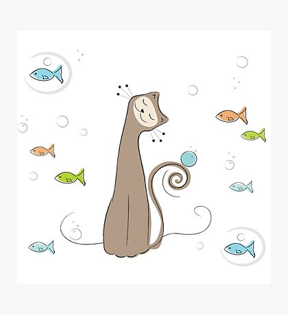 Whimsical Cat and Fish Photographic Print