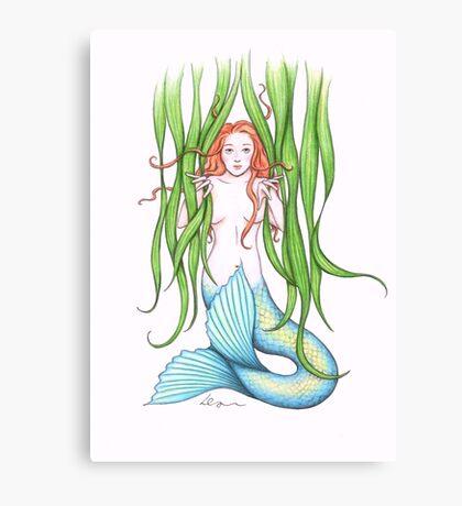 Mermaid looking through the weeds Canvas Print
