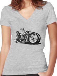 Cartoon Motorbike Women's Fitted V-Neck T-Shirt