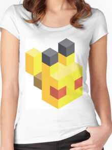 Pikachu Voxel Women's Fitted Scoop T-Shirt