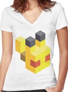 Pikachu Voxel Women's Fitted V-Neck T-Shirt